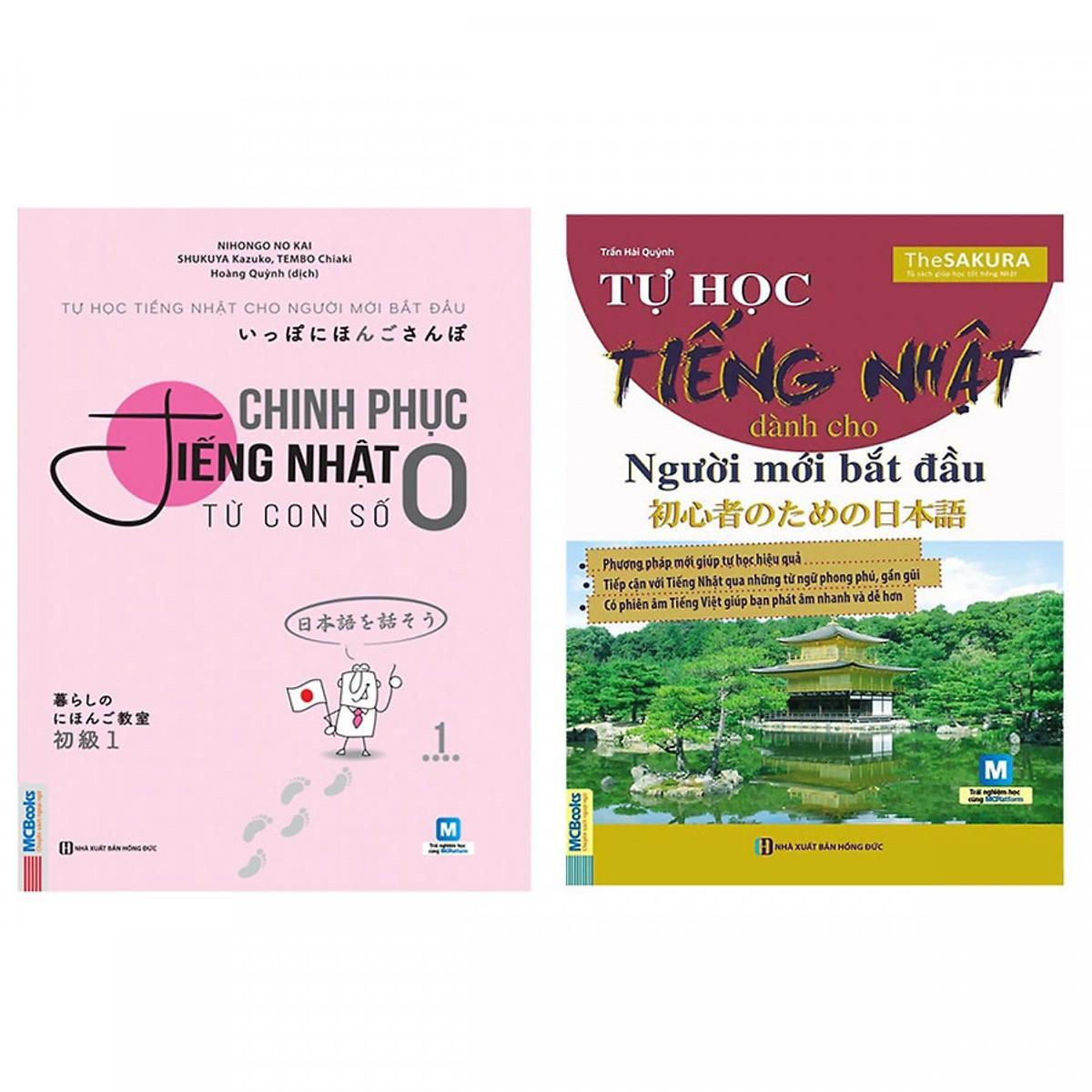 Combo Tự Học Tiếng Nhật Dành Cho Người Mới Bắt Đầu và chinh phục tiếng nhật từ con số 0(Tặng kèm booksmark)