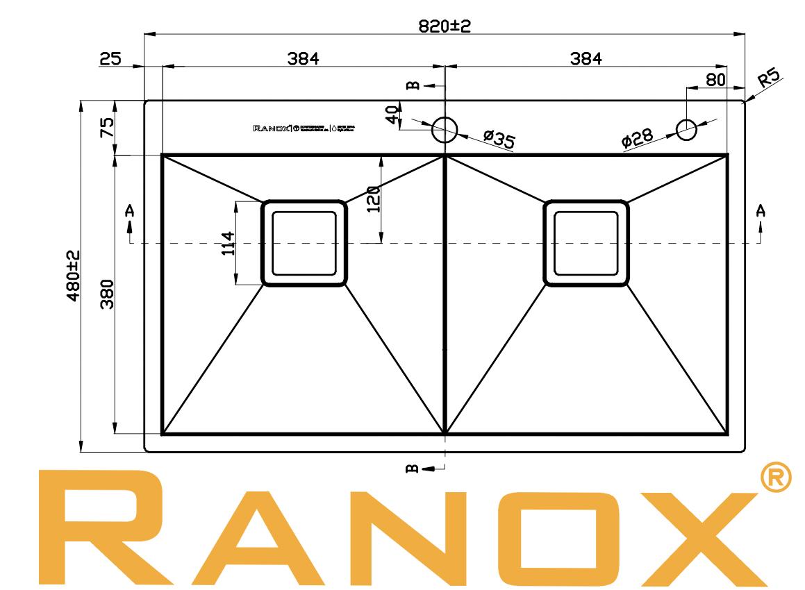 Combo Bồn rửa chén RANOX Cao cấp Vòi rửa chén RN44663