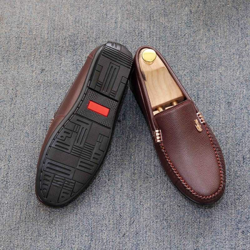 Giày lười nam da mềm khóa cá sấu 2 màu ĐEN và NÂU