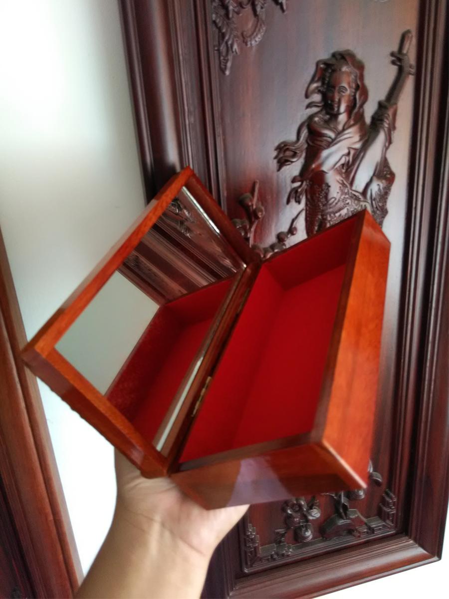 Hộp đựng trang sức gỗ gụ trạm bi khảm xà cừ màu đỏ lót nhung kính HTS20