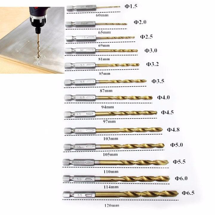 Bộ 13 mũi khoan gỗ, nhôm, mica ,nhựa phủ titanium-phụ kiện máy khoan