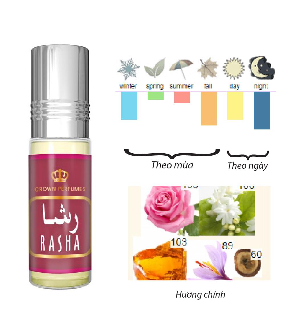 Tinh dầu nước hoa NỮ_RASHA Al-Rehabb (hàng chính hãng )