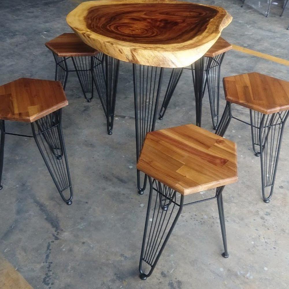 Bộ bàn 5 ghế café Clara gỗ me tây