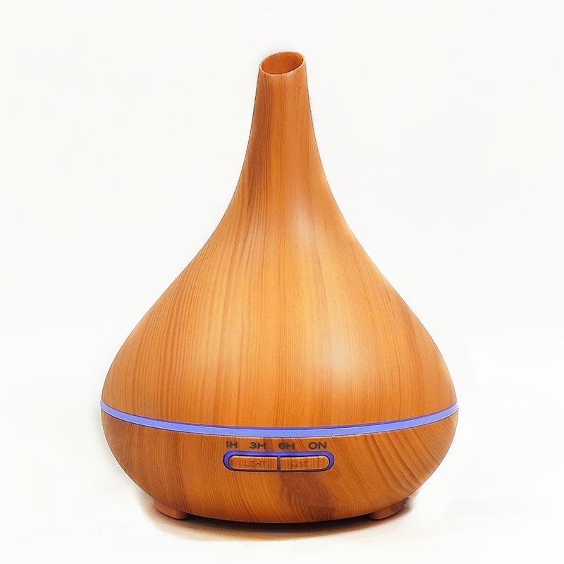 Máy khuếch tán tinh dầu bình tửu vân gỗ vàng FX2038 +tinh dầu sả chanh + tinh dầu bưởi chùm Lorganic (10ml x 2) LGN0349