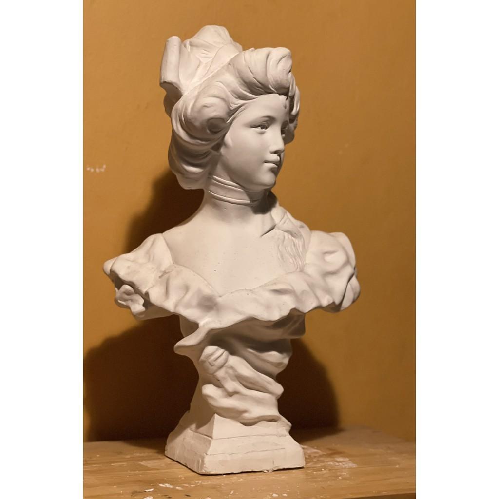 DECOR, Tượng thạch cao, Tượng ôn thi khối V-H, Tượng trang trí cô gái pháp. 50cm