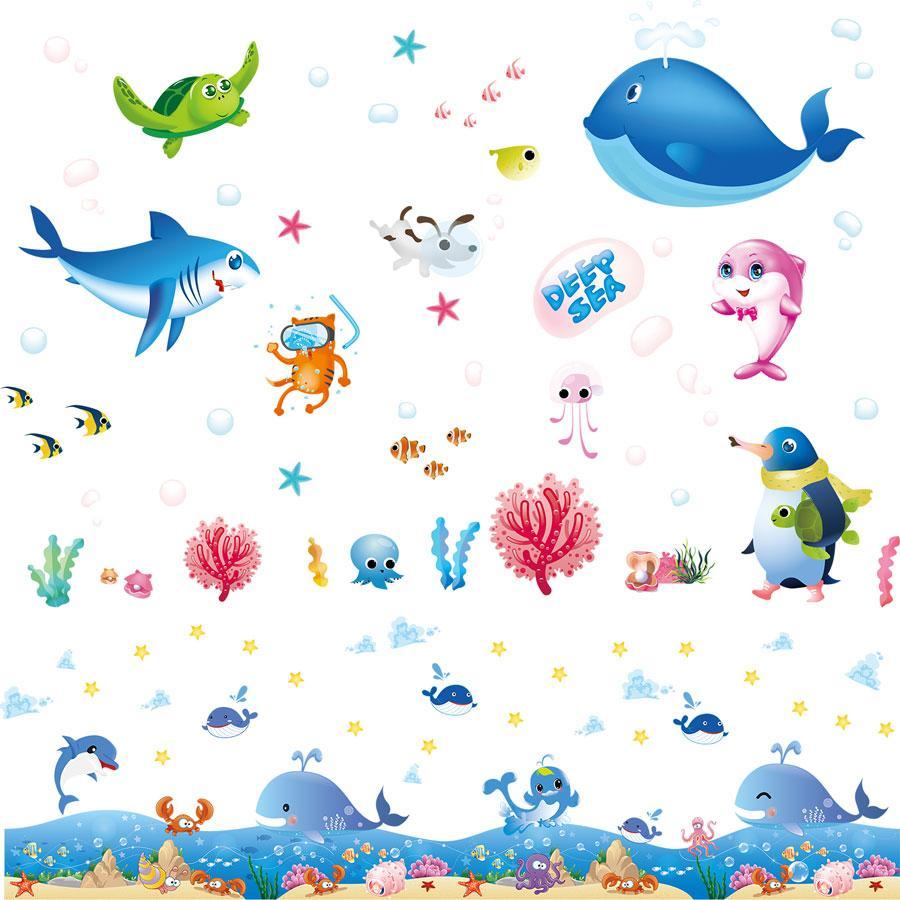 Decal dán tường kết hợp Đại dương sâu thẳm XL7225 + XL7149 [ Size Lớn ]