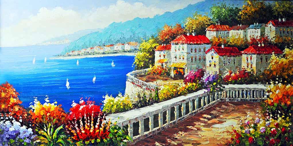 Tranh canvas phong cách sơn dầu - Phong cảnh Vịnh Địa Trung Hải - PC035