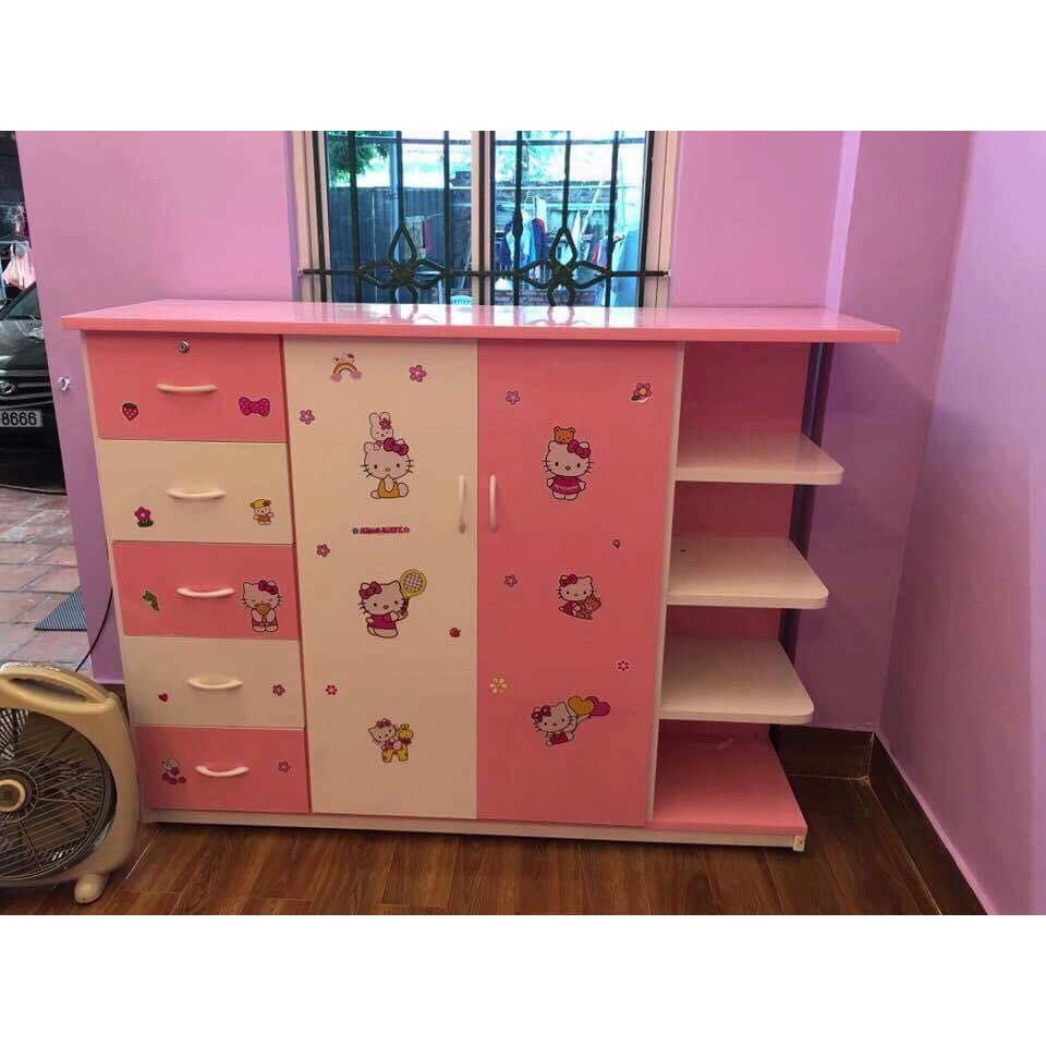 Tủ nhựa trẻ em hồng  2 cánh 5 ngăn kéo có kệ trang trí