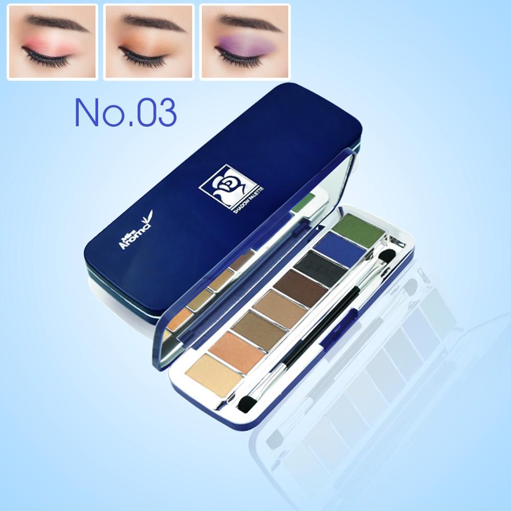 Phấn mắt 8 ô siêu mịn Mira Aroma Shadow Palette 8 Colors Hàn Quốc (2g x8) No 3  tặng kèm móc khoá