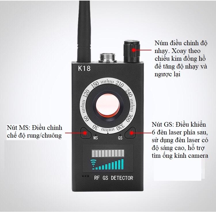 Máy dò định vị điện thoại, camera nhanh chóng, chính xác, cường độ sóng mạnh K18 (Tặng 3 nút kẹp cao su giữ dây điện -màu ngẫu nhiên)