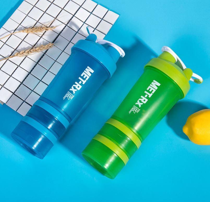 Bình Lắc Shaker, Bình Nước Gym, Bình Thể Thao Cho Gymer 4 in 1 (500ml) - Hàng Chính Hãng Amalife