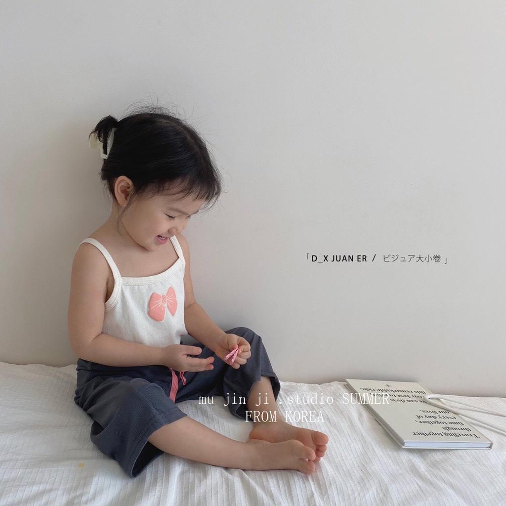 Áo hai dây họa tiết nơ nhỏ xinh xắn, chất liệu thoáng mát cho bé gái ShiniShop
