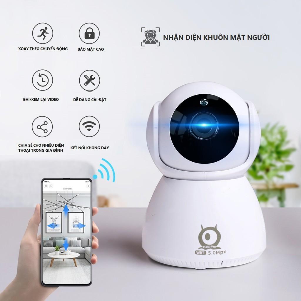 Camera trong nhà 360 V380 pro Q8 5.0 Mpx Đàm Thoại 2 chiều - Sử Dụng Tiếng Việt , Xoay 360 độ, Camera wifi