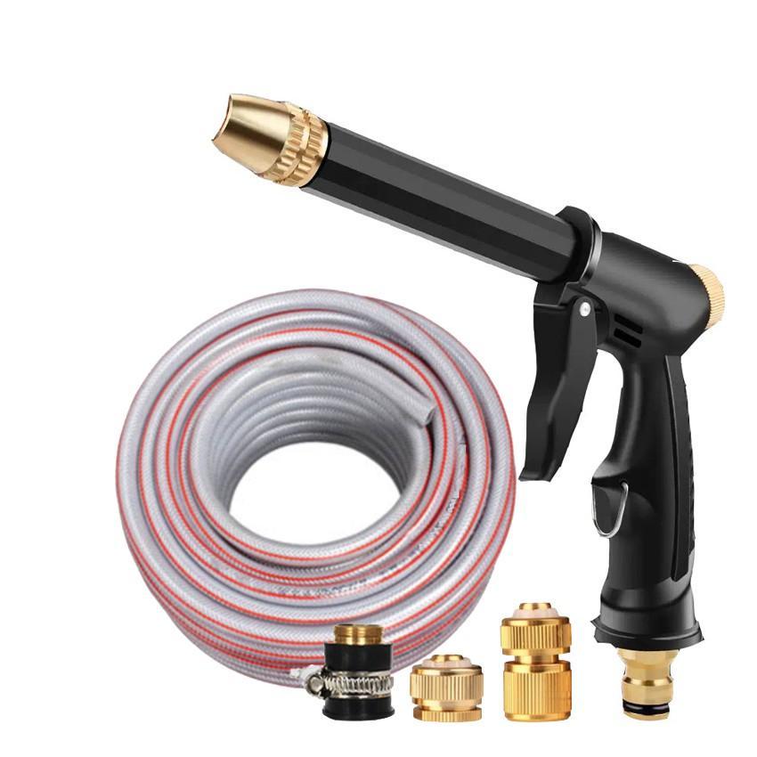 Bộ dây và vòi xịt rửa xe tưới cây tăng áp,vòi xịt rửa,vòi tưới cây 810-2576-1 (dây xám- cút nối đồng)