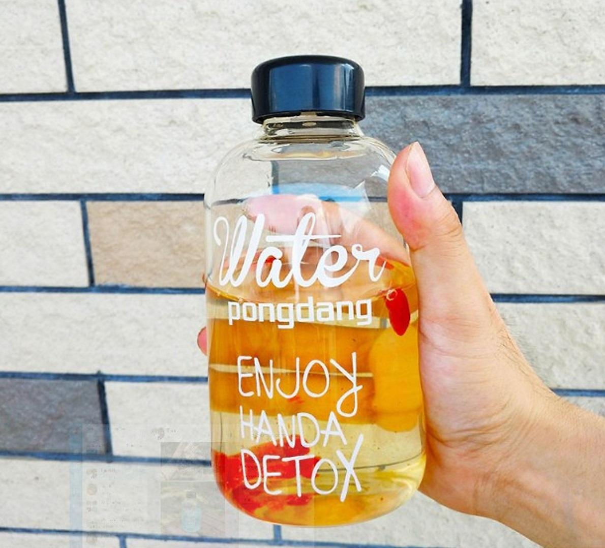 Combo 2 Chai Thủy Tinh đựng nước DETOX 600ML - Nắp nhựa có giăng cao su (Bình đựng nước, đựng sữa, chai đựng nước ép)