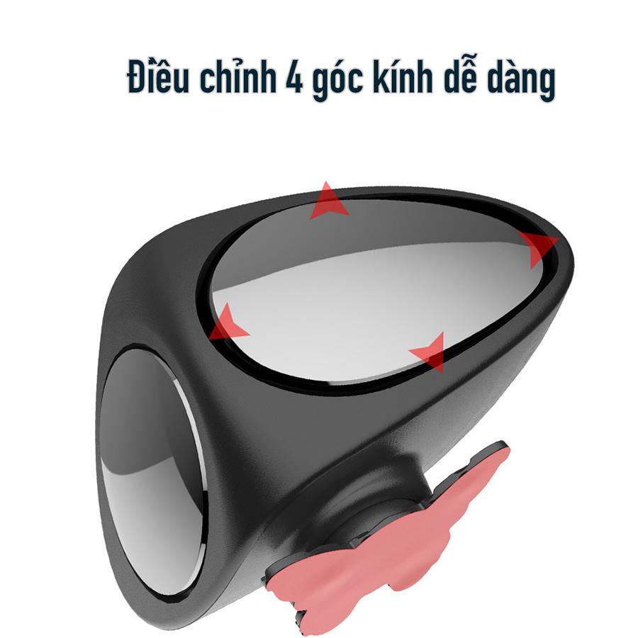Gương cầu lồi 2 mặt xóa điểm mù quan sát 2 bánh xe trước sau, gương xoay 360 độ, dán lên gương kính chiếu hậu chính cho xe hơi, ô tô