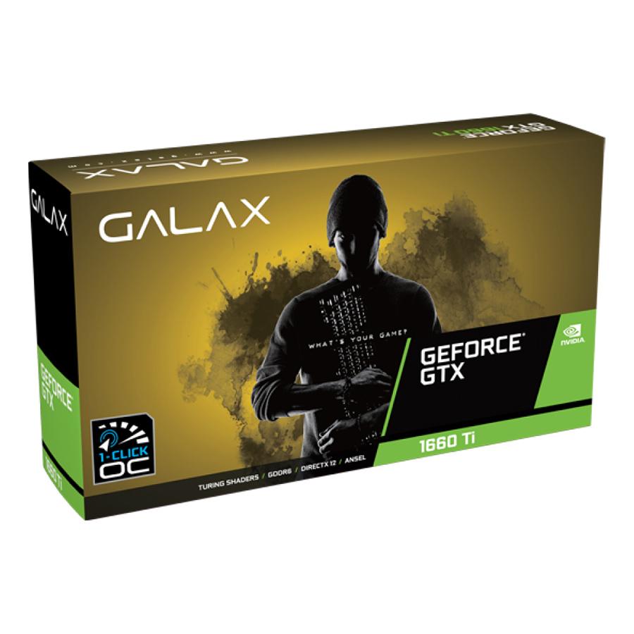 Card Màn Hình VGA Galax GeForce GTX 1660Ti 1 Click OC 6GB GDDR6 60IRL7DSY91C 192bit 2 Fan DP HDMI DVI D - Hàng Chính Hãng