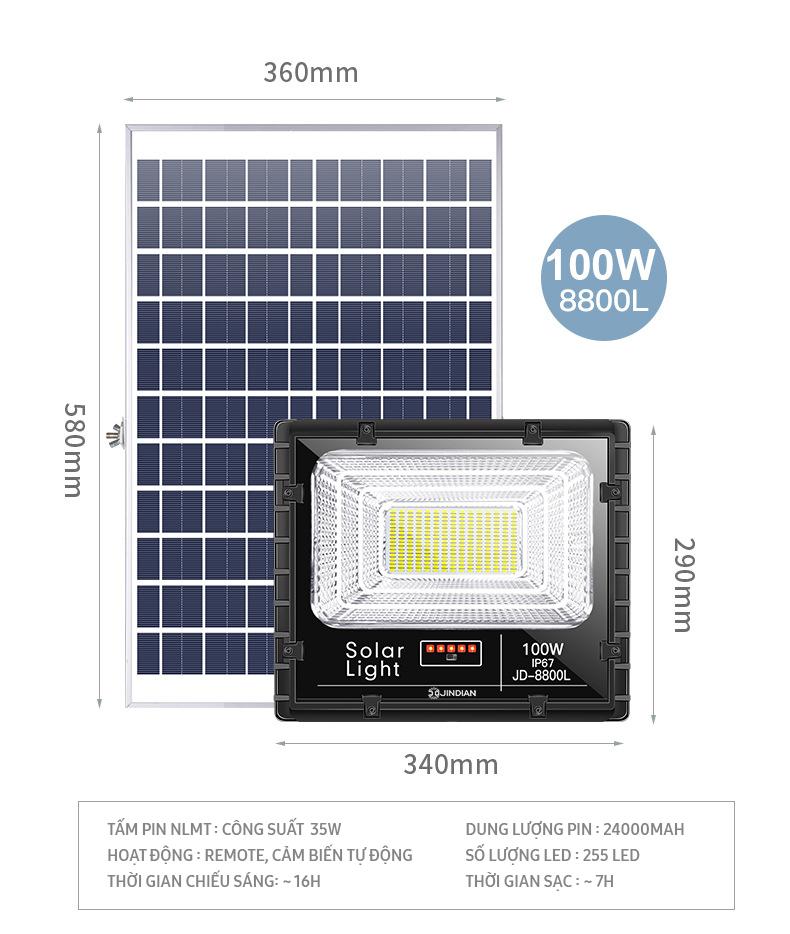 Đèn LED Năng Lượng Mặt Trời 100W   Chính hãng có Logo JINDIAN   [Model 2020]