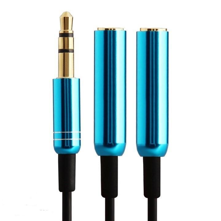 Dây chia 1 ra 2 tai nghe 4 khấc (Màu xanh)