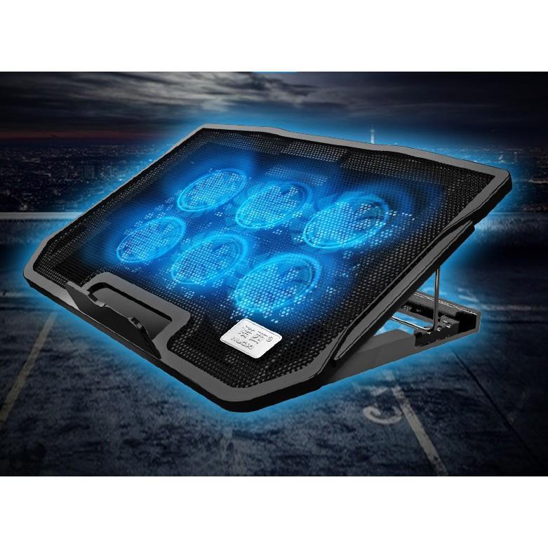 ️ Đế Tản Nhiệt Nuoxi H9 Dành Cho Laptop, Macbook Với 2 Cổng USB 6 Cánh Quạt Tản Nhiệt Êm Ái