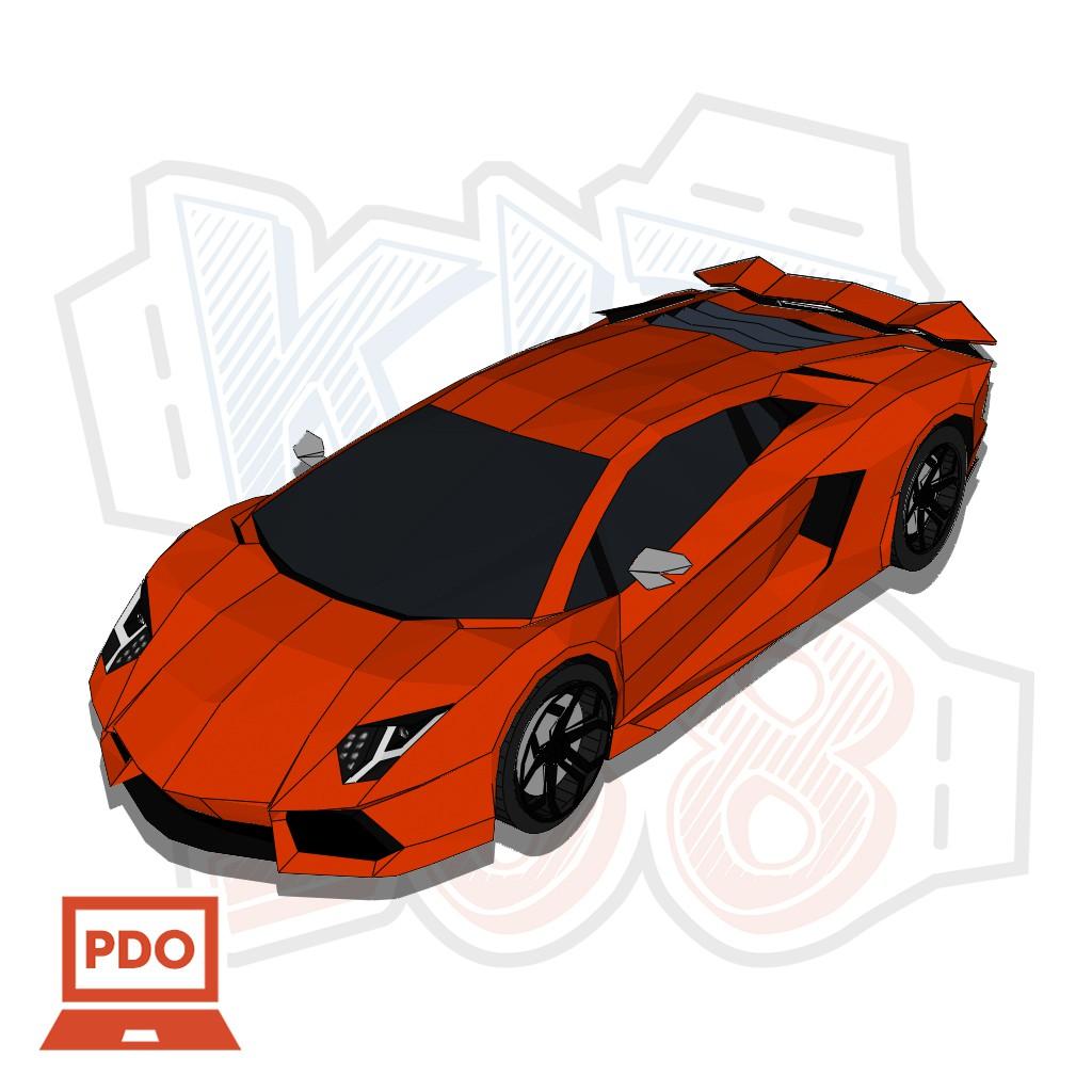 Mô hình giấy xe ô tô Lamborghini Aventador