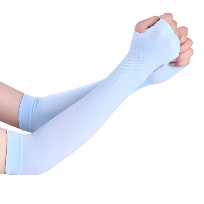 Găng tay chống nắng xỏ ngón Aqua-X Lets Slim   - Xanh