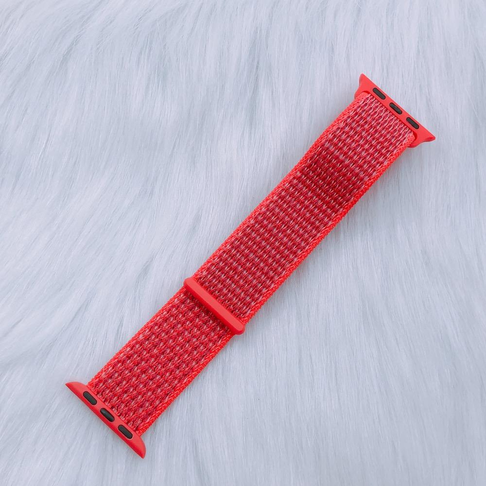 Dây Đeo Cho Apple Watch Nylon Sport Loop Màu Cam Đỏ