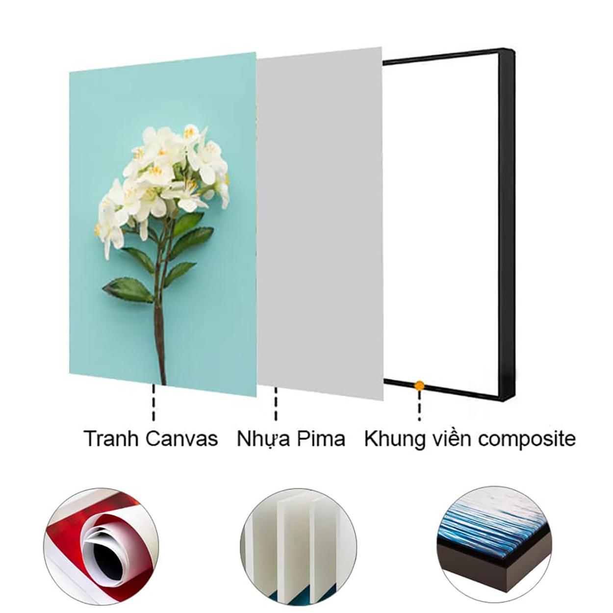 Tranh treo tường – Tranh spa room CC169 - Vải canvas kim tuyến  cán PiMa - công nghệ in UV hiện đại - Khung viền composite - độ bền màu trên 10 năm.