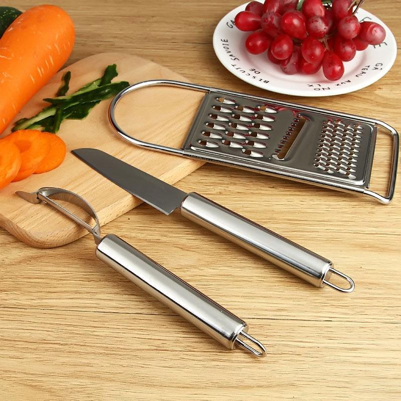 Bộ dụng cụ nhà bếp dao nạo gọt bào bằng inox 3 trong 1 Homebi HB-N31