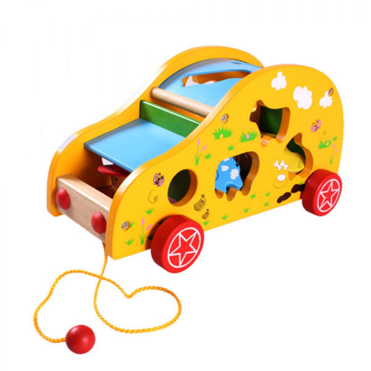 Ô-tô kéo xe thả hình con thú đồ chơi gỗ cho bé