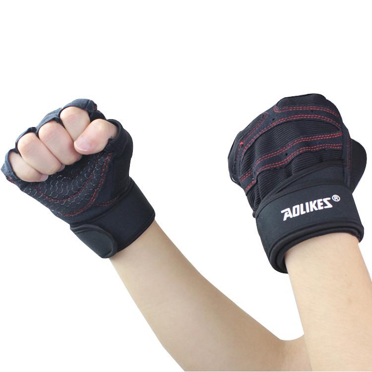 Găng tay tập gym nửa ngón 2 in 1 Aolikes A109