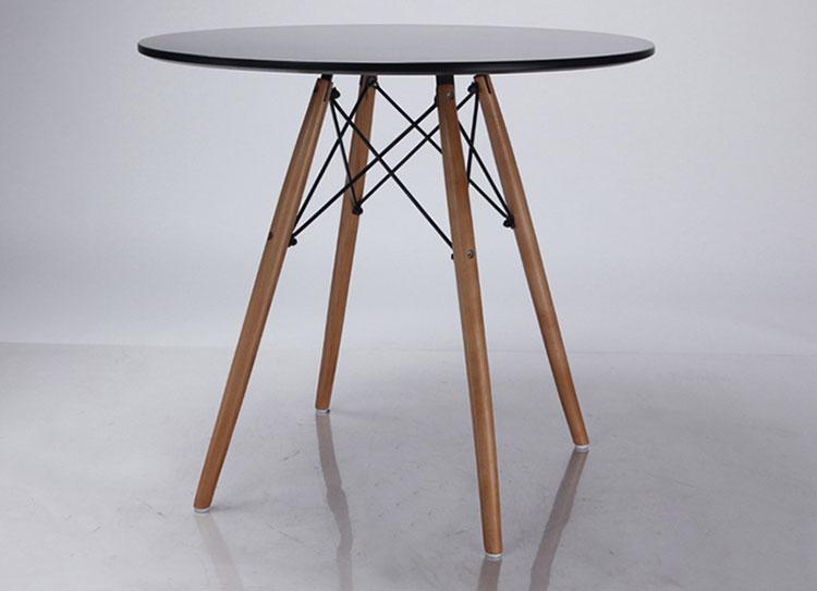 Bàn Czn-Eames Tròn Chân Gỗ (60cm) - Đen