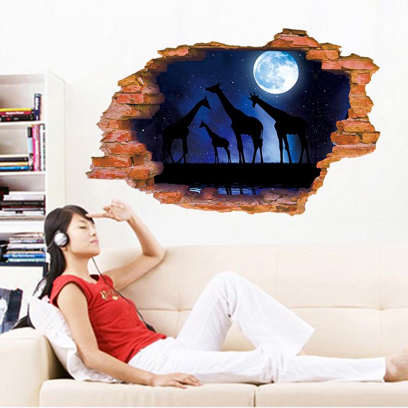 Decal dán tường đêm trăng sáng trong rừng ZOOYOO XL8309