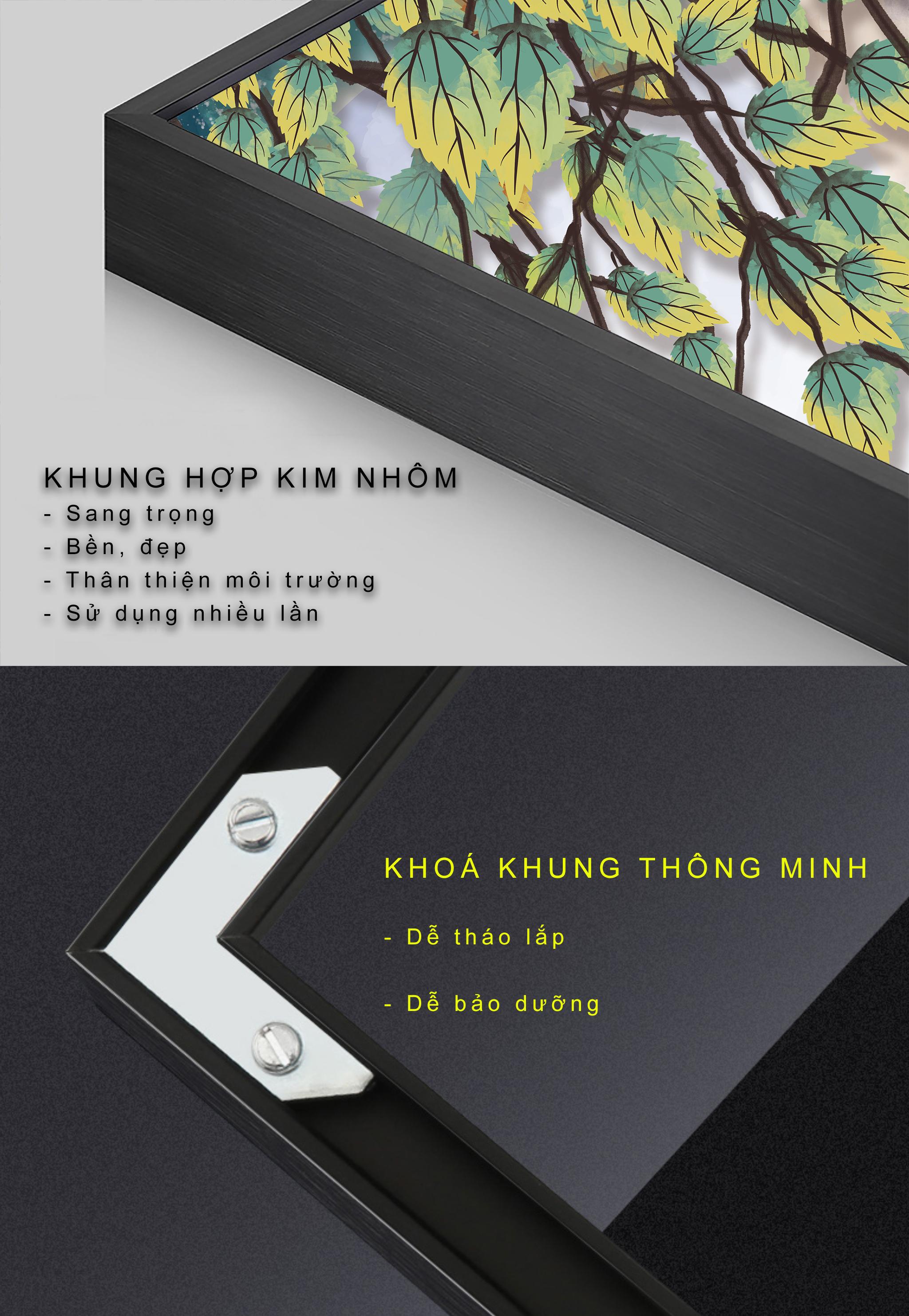 Tranh phong thuỷ Mica 3 bức Hoa lá thảo mộc trừu tượng (Tang Đố Mộc). Model: AZ3-0134