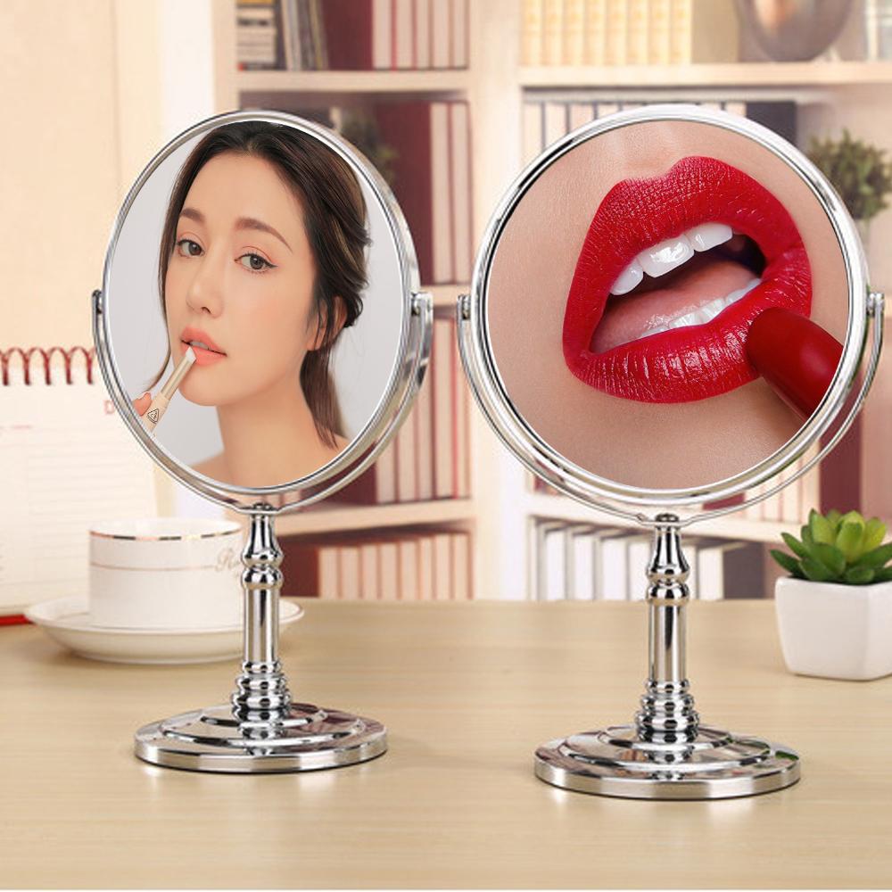 Gương trang điểm phóng đại 3 lần, xoay 360 độ, 2 mặt siêu nét, để bàn, Inox 304, Size 13cm, 15cm, 18cm, 20cm, Dan House 515