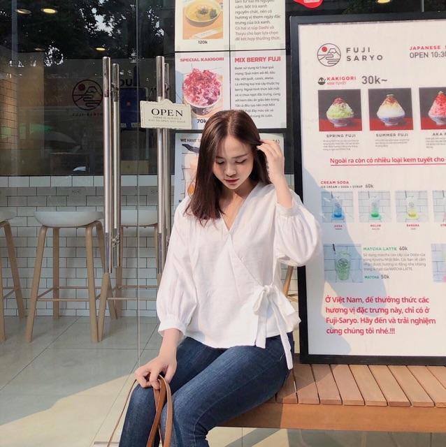 Áo Kiểu Hanbok Cột Nơ Eo xt