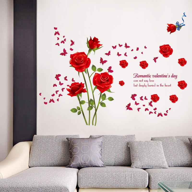 Decal Dán Tường Hoa Hồng Đỏ AY9195