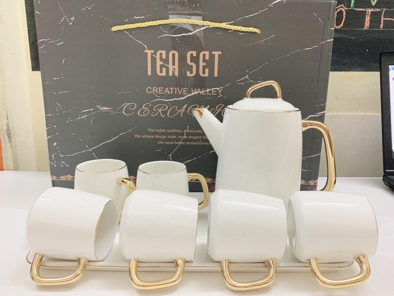 Bộ ấm chén kèm khay sứ pha trà cà phê trắng phong cách Âu - ANTH16