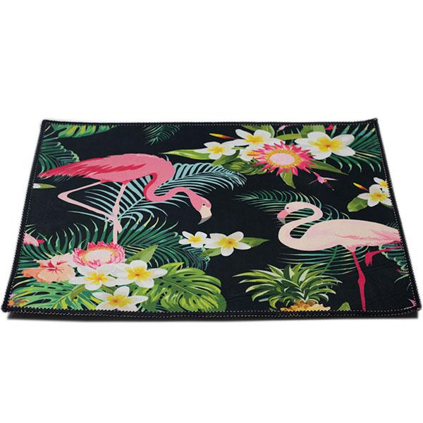 Thảm Lót Sàn Chùi Chân Họa Tiết 3D (60x40cm) Hạc Nền Đen
