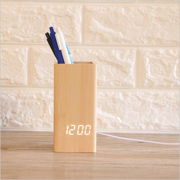 Đồng hồ LED để bàn hình hộp bút siêu đẹp - Báo thức - Cảm ứng âm thanh