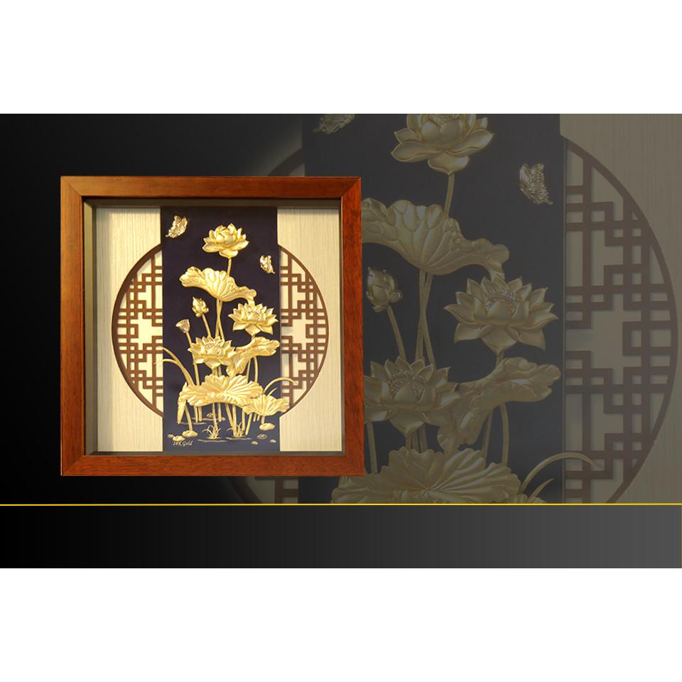 Quà tặng Tân gia cao cấp - Tranh hoa Sen 3D phong thủy dát vàng 9999