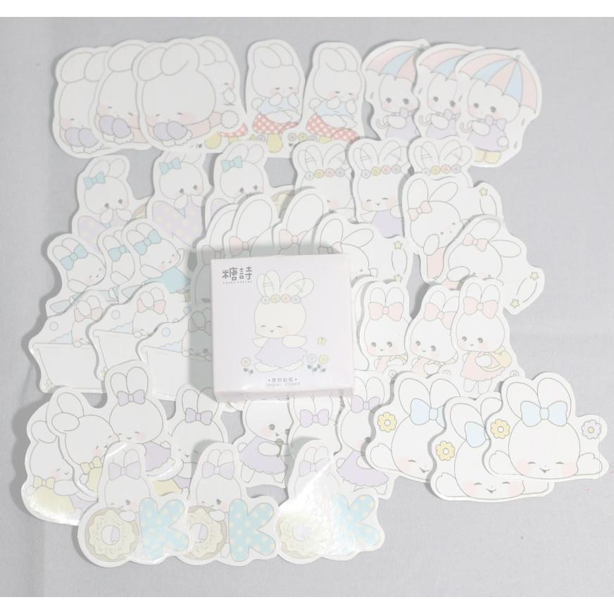 Hộp 45 Miếng Dán Sticker Trang Trí Thỏ Đáng Yêu