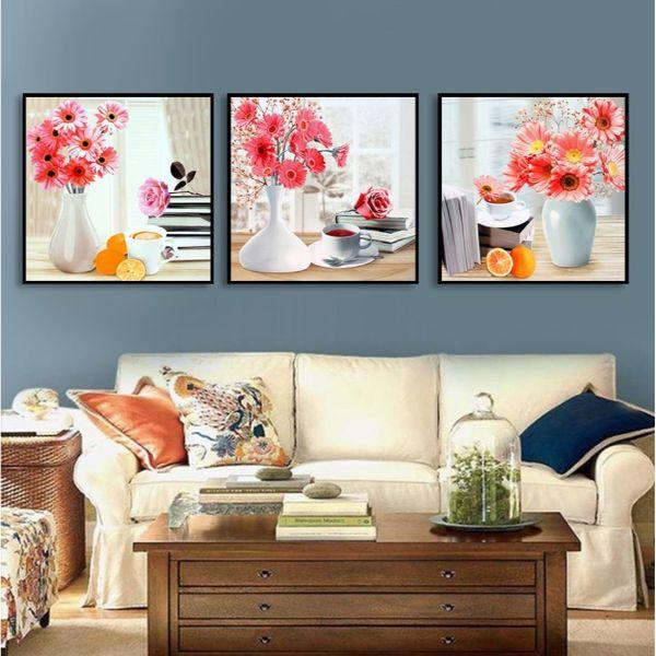 Tranh Trang trí Lọ Hoa Đồng Tiền - Tranh Canvas Treo Tường