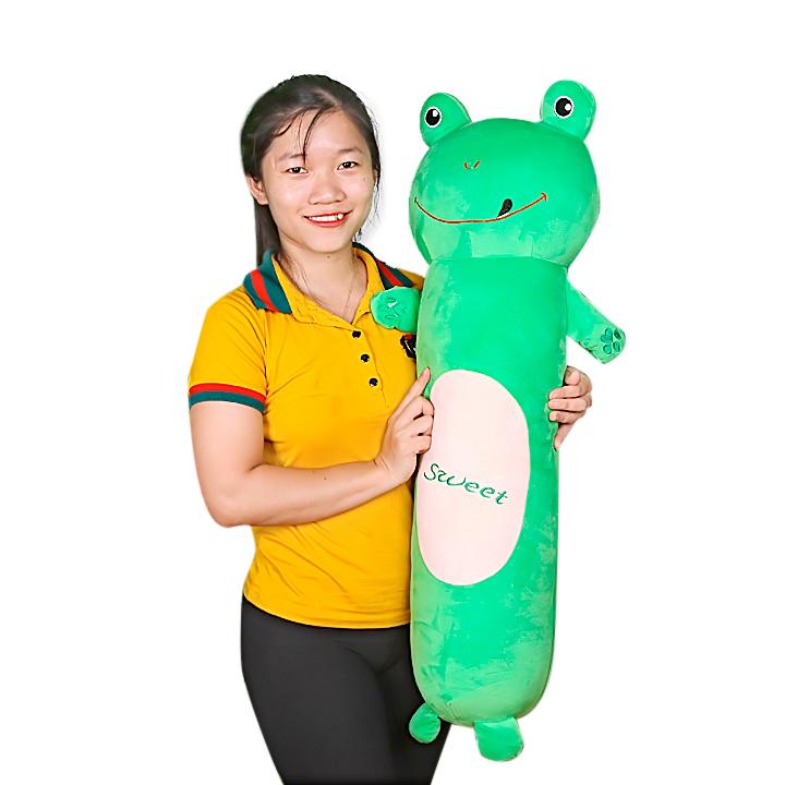 Gấu bông ôm dài dạng thú hàng vải nhung ếch xanh 1m