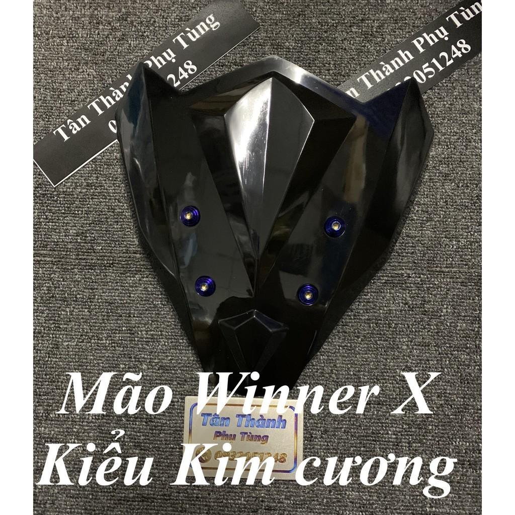 Mão dành cho xe Winner X kiểu kim cương đen nhựa trong kèm 4 ốc xanh titan