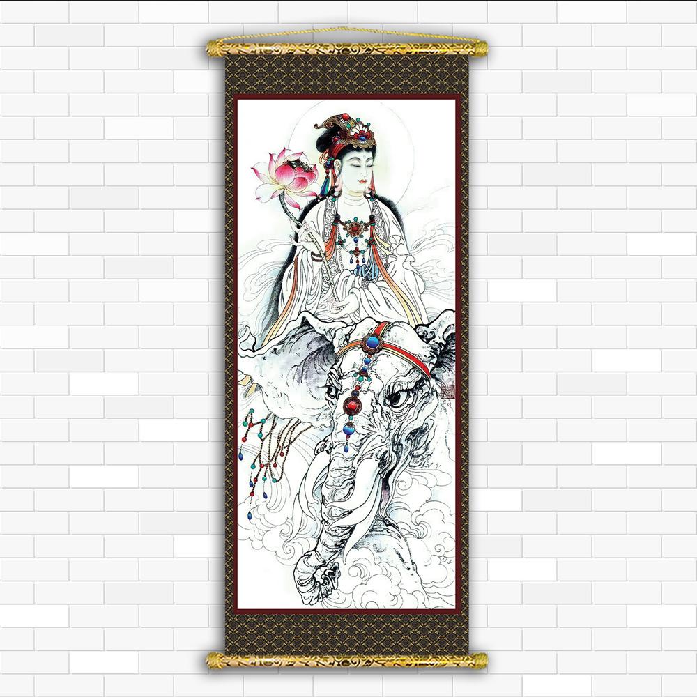 Tranh Liễn Phật Giáo - Quan Âm Nam Hải Bồ Tát 2022 – Vải canvas cao cấp nẹp sáo gỗ tự nhiên nhiều size, nhiều mẫu thiết kế