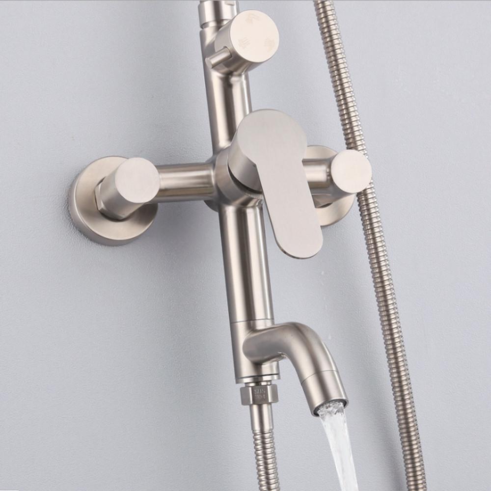 Bộ cây sen tắm nóng lạnh inox 304 thương hiệu KAMA ST02 - cây sen tắm đứng inox 304, màu sắn nguyên bản, không chì, không gỉ sét - Hàng chính hãng