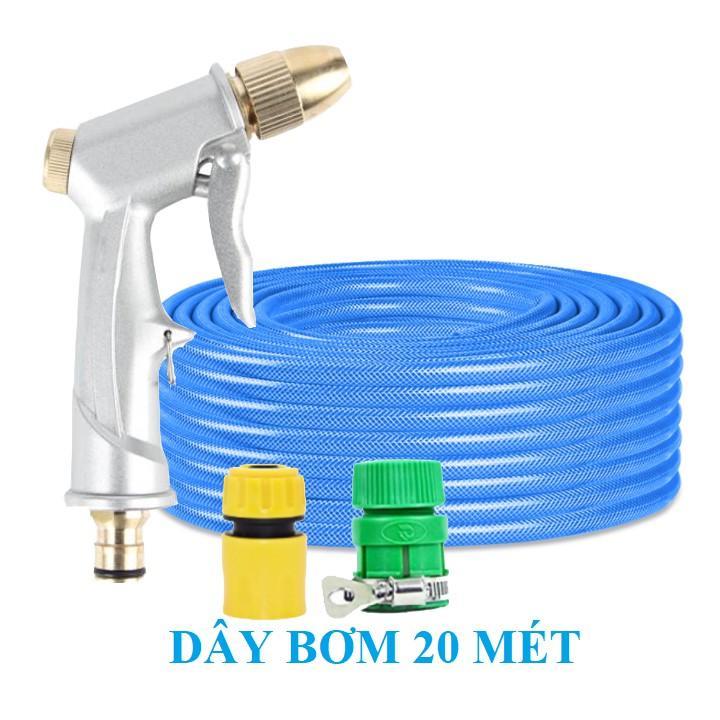 Bộ dây vòi xịt nước rửa xe, tưới cây . tăng áp 3 lần, loại 20m 206701 đầu đồng,cút+ tặng mở chai