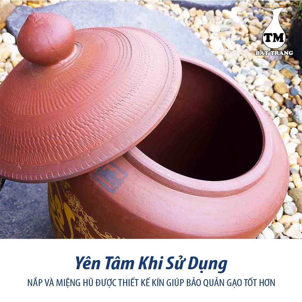 Hủ sành đựng gạo gốm sứ Bát Tràng có nắp màu nâu đỏ chữ Tài Lộc