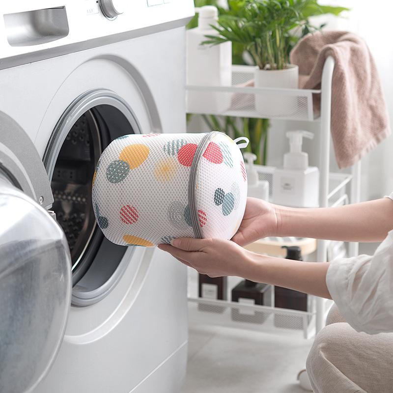 Túi Giặt Đồ Dạng Trụ Tròn Cao Cấp Bảo Vệ Đồ Lót Có Móc Phơi Tiện Lợi